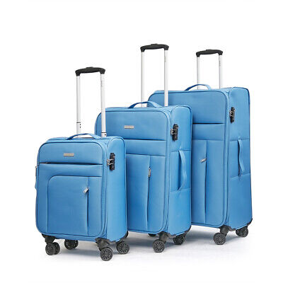 3pc Luggage Set Soft Suitcase Lightweight Trolley TSA Carry On Travel Bag Blue