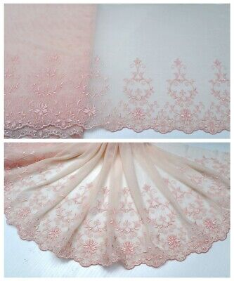 """12""""*1Y Embroidered Floral Tulle Lace Trim~Nude Pink~Angel Heart~Soft&Smooth~"""