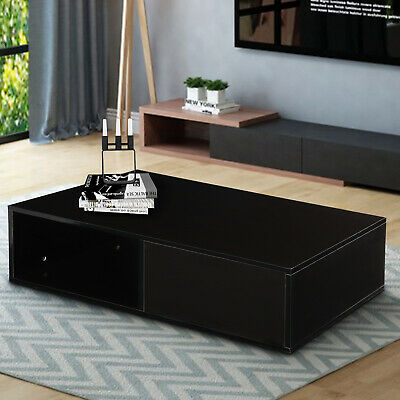 Rectangle Storage Black with 1 drawer Living Room Modern Coffee Table Furniture