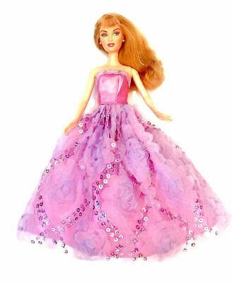 New Barbie doll clothes outfit princess dress gown pink sequin clothes
