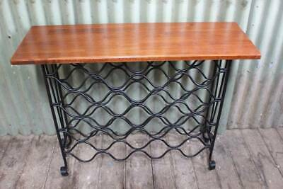 A French Style Timber & Wrought Iron Hall Table with Wine Rack or Bar