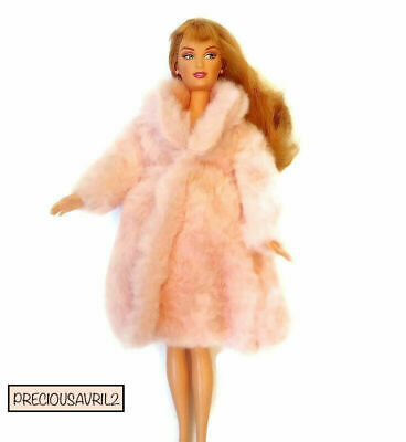 New Barbie Doll Clothes coat clothing jacket outfit pink fur winter
