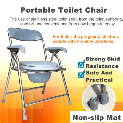 Stainless Steel folding commode toilet bathroom shower mobile potty Adult chair