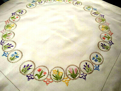 Stunning Spring Miniature Flower Circles   Vintage Hand Embroidered Tablecloth