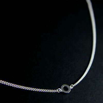 GENUINE 925 Sterling Silver Circle Pendant Curb Chain Choker Necklace UK New