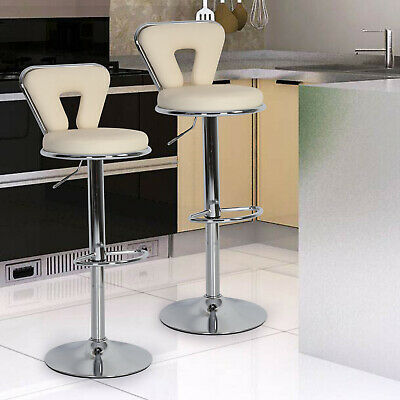 2 Pcs Bar Stools Faux Leather Barstool Kitchen Pub Stool Breakfast Bar Chair