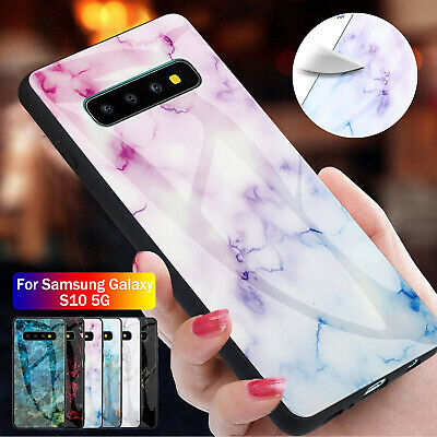 For Samsung Galaxy S10+ S8 S9 Note 10 Case Slim Tempered Glass Back Marble Cover