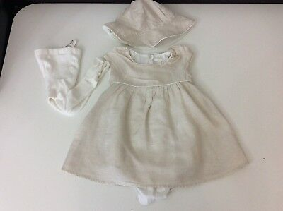 Chloe Baby Girls Outfit, Set, Dress, Hat & Tights, Beige, Age 18 Months, Vgc