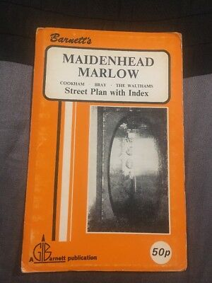 Barnett's Vintage Map Maidenhead Marlow Street Plan with index