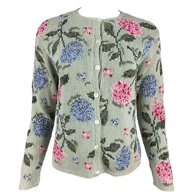 Vintage LAURA ASHLEY Knitted Pure Cotton Pink Blue Hydrangea Green Cardigan L