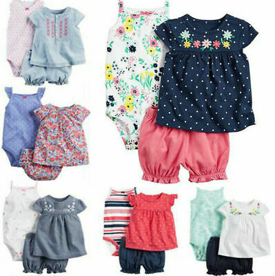 3Pcs Newborn Infant Baby Girl Kids Floral Romper Jumpsuit Clothes Tops Pant Set