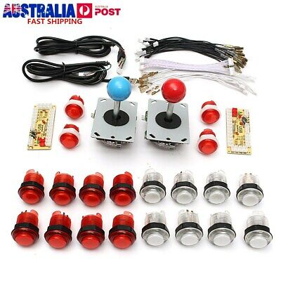 USB Encoder 2 Joystick Arcade DIY Kits Parts 20X LED Illuminated Push Buttons AU