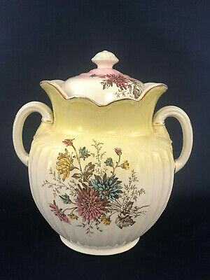 Antique Victorian ceramic chamber pot or slop bucket & lid 1870s