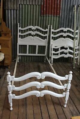 An Antique French Style White Timber & Cast Iron Single Bed - One of Two