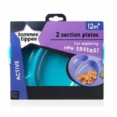 Tommee Tippee 2 Section Plates 12m+ Teal