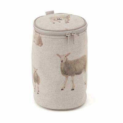 HobbyGift Yarn Holder Knitting Storage Ball of Wool Bag - Beige Linen Sheep