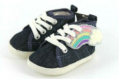 NEXT Baby Girls Size 0 Navy Blue Denim Rainbow Trainers Shoes Elasticated Laces
