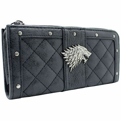 Game of Thrones Maison Stark Dire Loup Bourse Portefeuille Gris