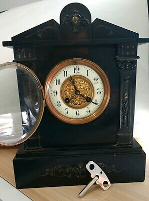 Antique French Black Marble Mantle Clock Gold Accents S Marti Medaille D'Argent