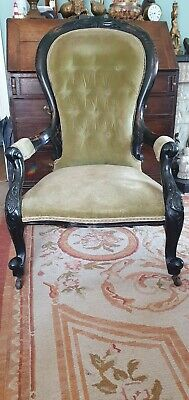 Victorian Button Back Armchair In L Green Velvet ebonised carved balloon back