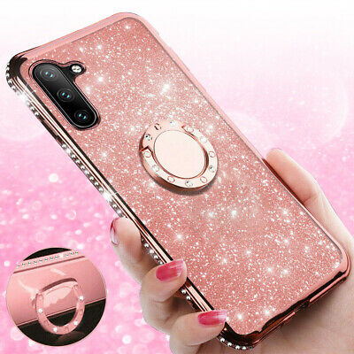 For Samsung Galaxy Note10/10 Plus Bling Diamond Ring Holder Stand TPU Case Cover