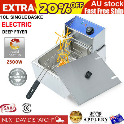 AU Deep Fryer Commercial Electric Oil 10L Frying Cooker Basket Stainless Steel
