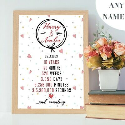 Personalised 1st 10th 25th 50th Wedding Anniversary Gifts Frame Golden Love V1.4