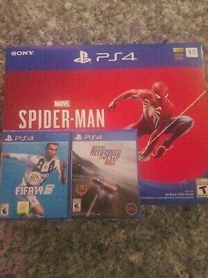 NEW Sony PlayStation 4 Slim Marvel Spiderman Bundle PS4 Console 1TB+2extra games