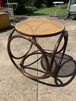Vintage Bentwood Cane Wicker Bamboo Ottoman Foot Stool Thonet Style Mid Century