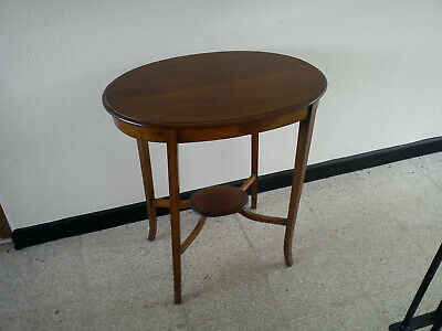 Antique Edwardian Solid Mahogany Oval Side Table With Boxwood stringing