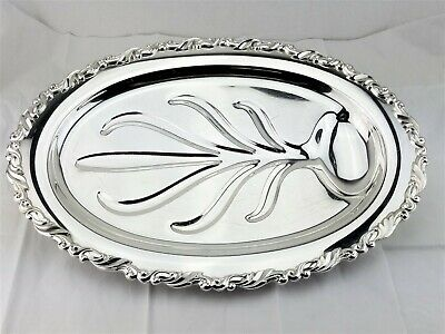 "Oneida Georgian Scroll Silver Footed Meat Turkey Platter Fish Serving Tray 18""L"