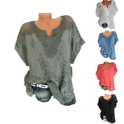 Women Summer Fashion Casual Sexy Lace Loose Hollow Floral Tshirt Blouse Tee Tops