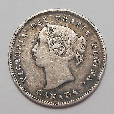 1898 Five Cents Silver F-VF Nice SCARCE Date LOW Mintage KEY Victoria Canada 5¢