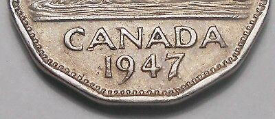 1947 DOT Five Cents VF * Very Nice RARE Variety KEY King George VI Canada Nickel