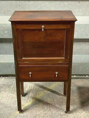 Antique Edwardian mahogany drinks cabinet linen storage cupboard with drawer