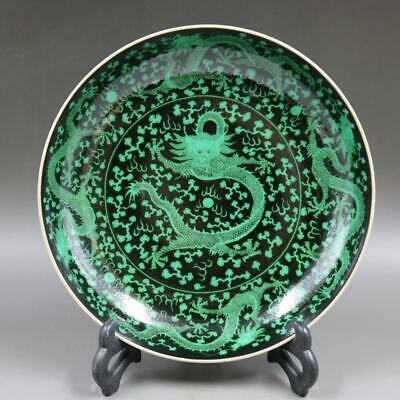 Antique Chinese Old Porcelain Black Ground Green Color five Dragon Plate Mark
