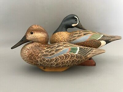 Blue Wing Duck Decoys, solid wood, glass eyes, hand carved and painted.