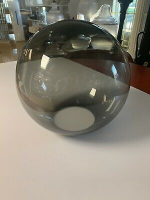 """12"""" Smoked ROUND GLOBE OUTDOOR SPHERES  20012-Sm-4F  TOP 4"""" Neck Fitter NEW"""