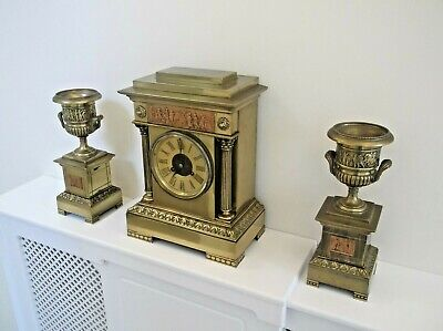 Mid Victorian, Solid Brass French Garniture In The Greek Mythology Fashion. Gwo.