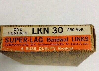 Bussman Super-Lag Renewal Links LKN 30 250 Volt LOT OF 93