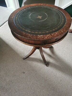 Reprodux Bevan Funnell Circular Mahogany Drum Table With Leather Top