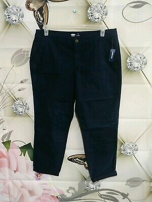 Old Navy Womens Slim Chino Capri pants size 14 Tall Cropped Cuffed Navy blue New