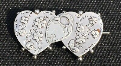 """AntiqueVICTORIAN """"S.Bros""""Sterling Sweetheart Pin With Padlock Flowers Birmingham"""