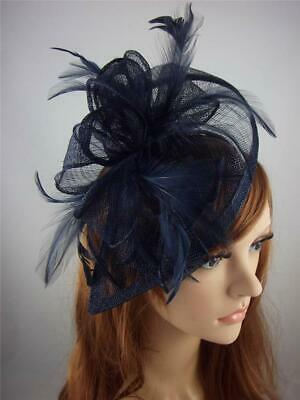 Navy Blue Teardrop Sinamay Fascinator with Feathers - Occasion Wedding Races