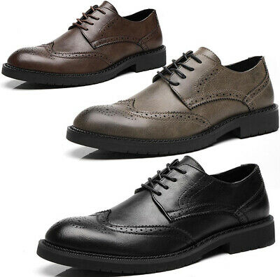 Mens Leather Smart Formal Oxfords Lace Up Wedding Casual Office Brogues Shoes