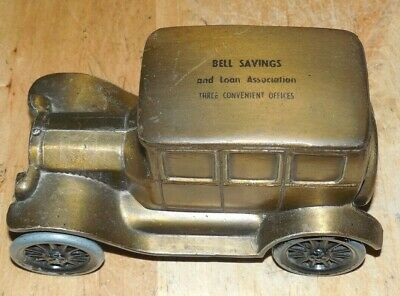 Vintage Metal Coin Bank Bell Savings And Loan Association 1926 Ford