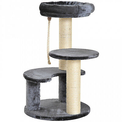 26' Cat Scratching Tree Kitty Activity Center 2 Perch w/ Sisal Rope Grey