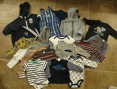 Baby Boys 20 Piece Lot 6-12 mo Bodysuits Tops Sweater Outfits Clothing Lot Sets