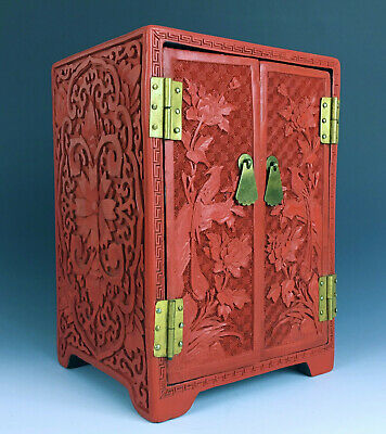 Antique Chinese Cinnabar Carved Lacquer Miniature Cabinet Republic Birds Flowers