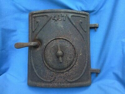 "VINTAGE CAST IRON Wood Stove -Furnace Door Approx. 10"" Tall X 9"" Wide STEAMPUNK"